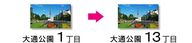 札幌の行き方 大通公園1丁目 → 13丁目