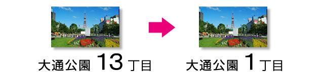 札幌の行き方 大通公園13丁目 → 1丁目