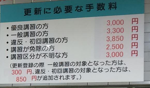 優良講習の場合は3000円