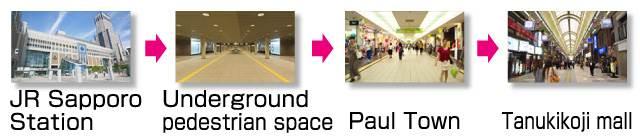 sapporo directions tourist spot. Sapporo Station → Underground pedestrian space → Paul Town → Tanukikoji mall