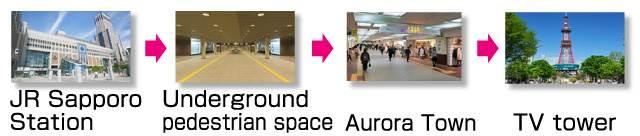 sapporo directions tourist spot. Sapporo Station → Underground pedestrian space → Aurora Town → TV tower