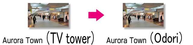 underground mall Aurora Town TV tower → Odori