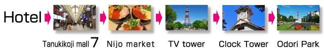 Sapporo Prince Hotel → Tanukikoji mall → Nijo market → TV tower → Clock Tower → Odori Park