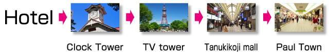Keio Plaza Hotel Sapporo → Sapporo Clock Tower → TV tower → Tanukikoji mall → Paul Town