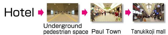 Sapporo Grand Hotel → Underground pedestrian space → Paul Town → Tanukikoji mall