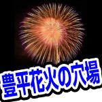 豊平川の道新・UHB花火大会。親子連れでのんびり見れる場所はアリオ。トイレあり。
