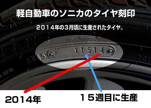 軽自動車のタイヤの製造年月日の刻印