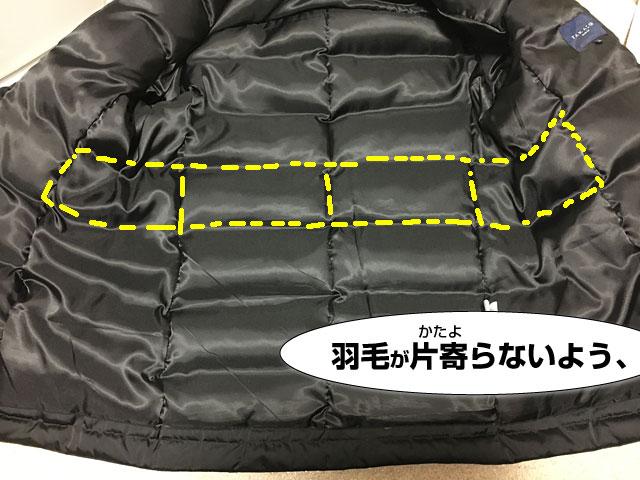タカキューダウンジャケットのキルト加工。