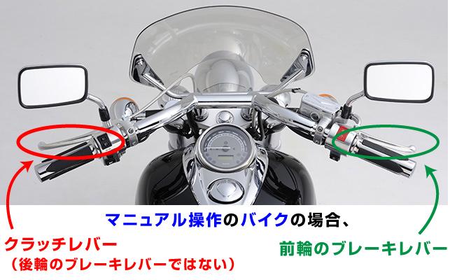 マニュアルバイクのブレーキレバー操作