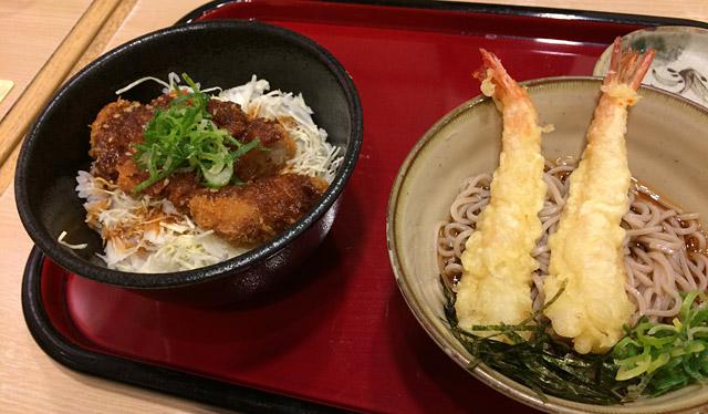 新札幌・かつてんの味噌カツ&海老天そばセット