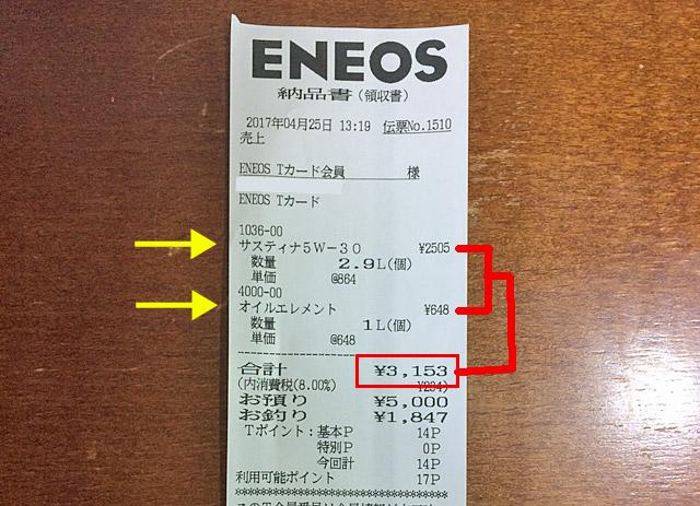 オイル交換料金3153円