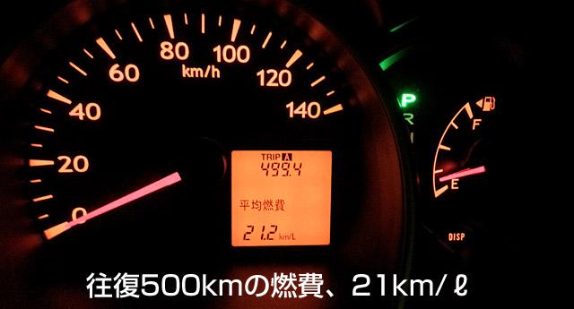 実燃費は21km/lでした。