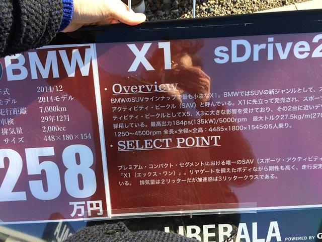 X1のプライスボード