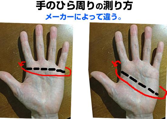 バイクグローブ、手回り(手囲い・外周)の測り方