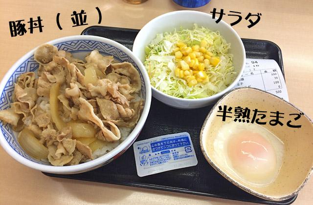 豚丼・サラダ・半熟たまご