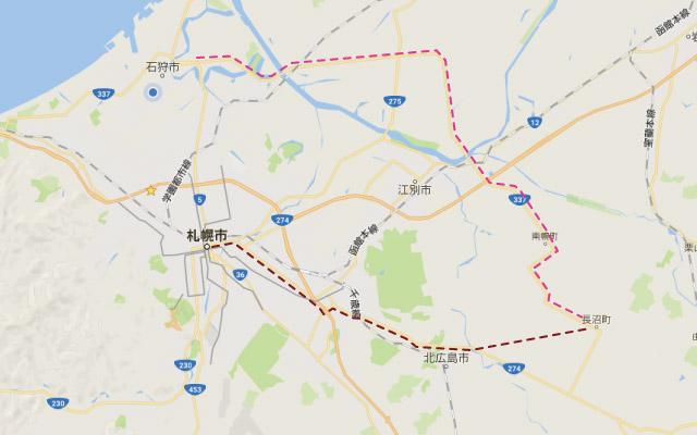 国道337号線と、274号線+道道3号線