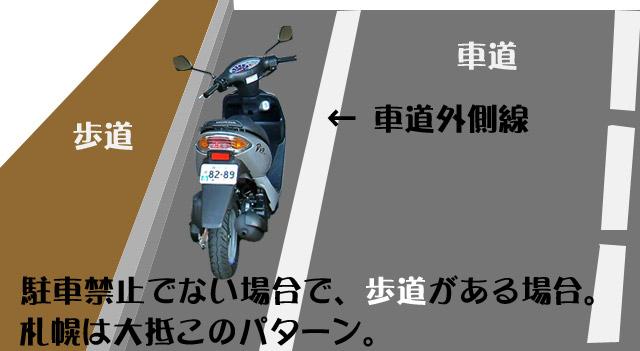 車道外側線の内側に原付50ccを駐車