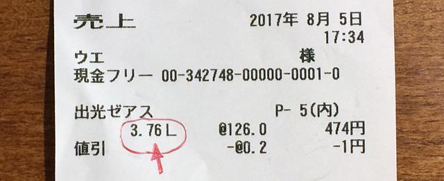 給油量、3.76リットル