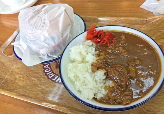 カフェ宝竜のカレー&ハンバーガーセット