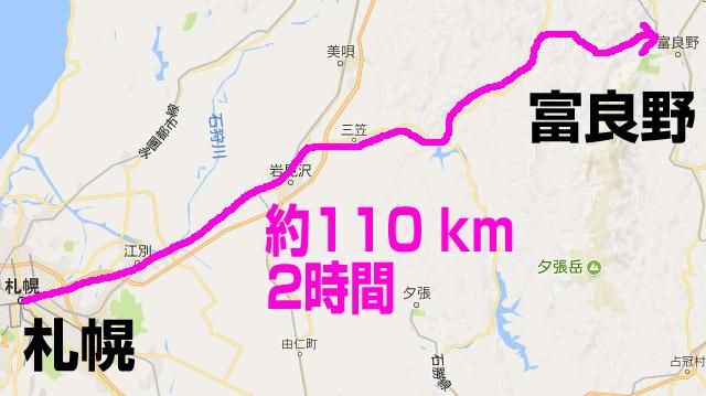 札幌から富良野まで110km 2時間