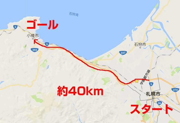 札幌から小樽までの距離