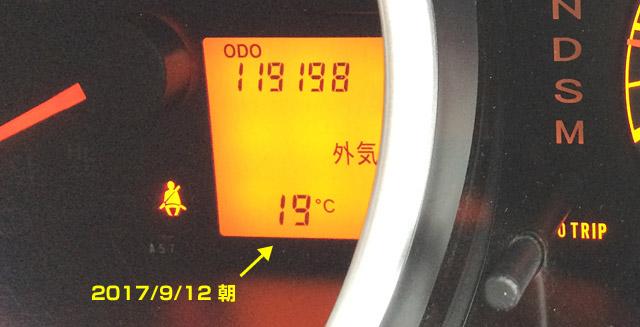 走行距離 119,198km 気温19℃