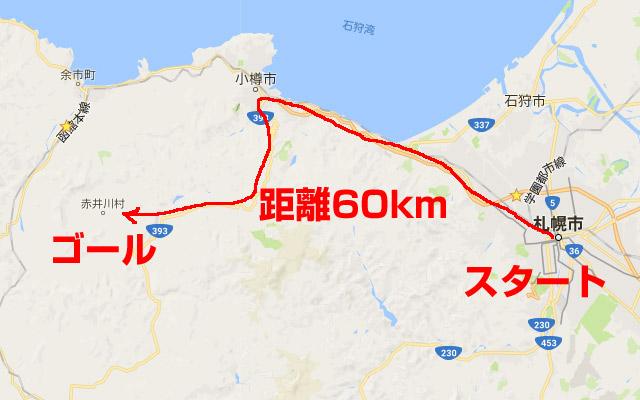 札幌から赤井川村の距離