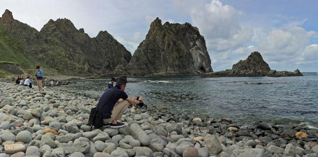 砂浜ではなく石の浜。
