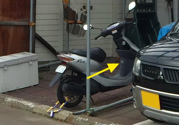 スクーターの空気圧は、前輪よりも後輪が高い。