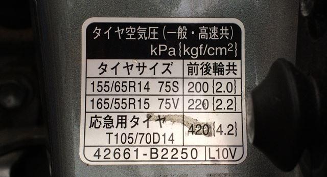 こちらは軽自動車ソニカの空気圧表示