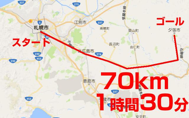 札幌から夕張鹿の谷までの距離70km