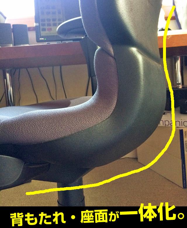 背もたれ、座面一体型構造