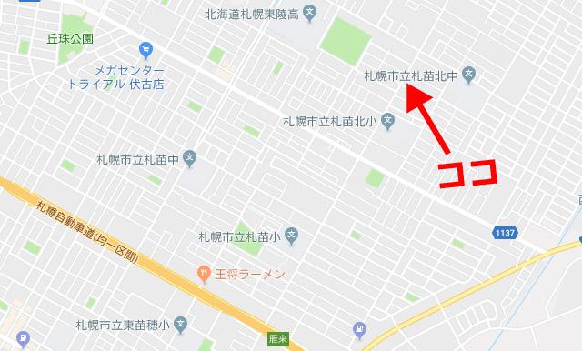 ビハニ札幌東苗穂店の地図2