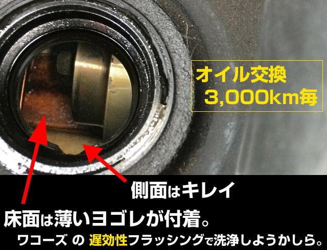 エンジン内部のスラッジ汚れをeクリーンプラスで溶かして落とす