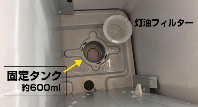 ストーブの固定タンクには600mlほど
