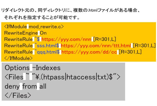 ディレクトリ内の複数htmlファイルをそれぞれのURLに301リダイレクトするhtaccess