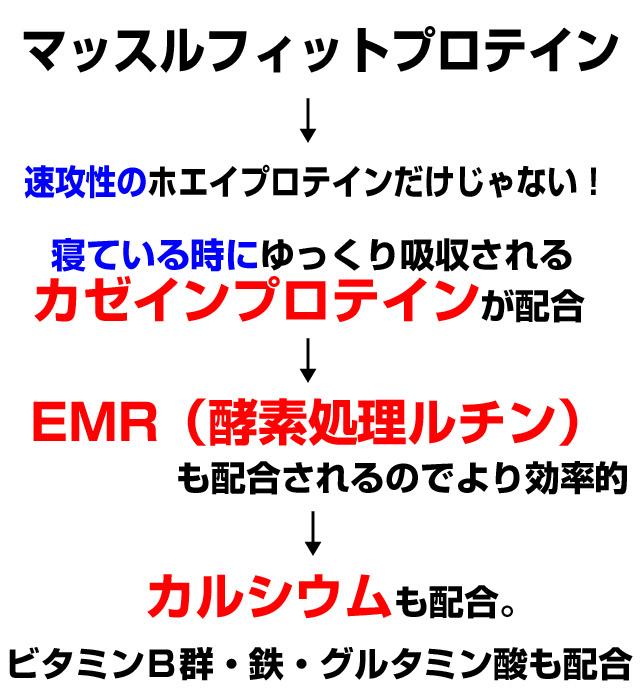 ホエイプロテイン・カゼインプロテイン・EMR・カルシウム配合