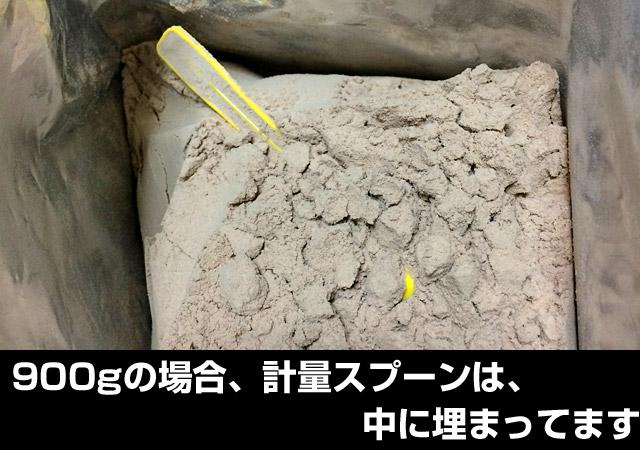900gの場合、スプーンはプロテインの中に埋もれています。