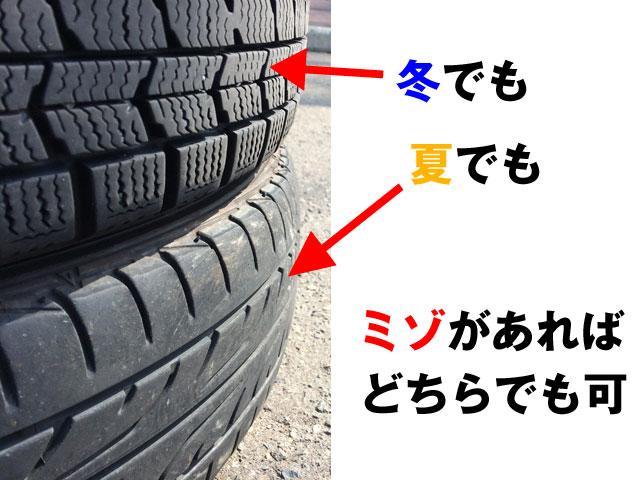 溝が残っていれば冬でも夏タイヤでも車検に通る。