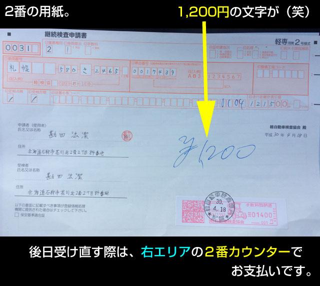 2番の継続検査申請書には1200円の文字が。