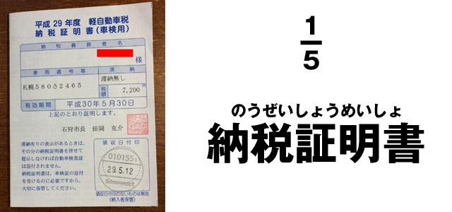 1.軽自動車税の納税証明書