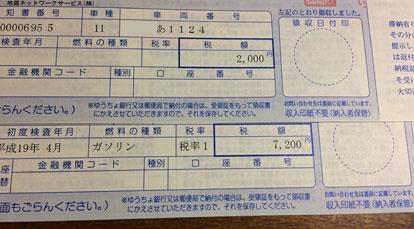 軽自動車税の納付書(ソニカ・原付50cc)