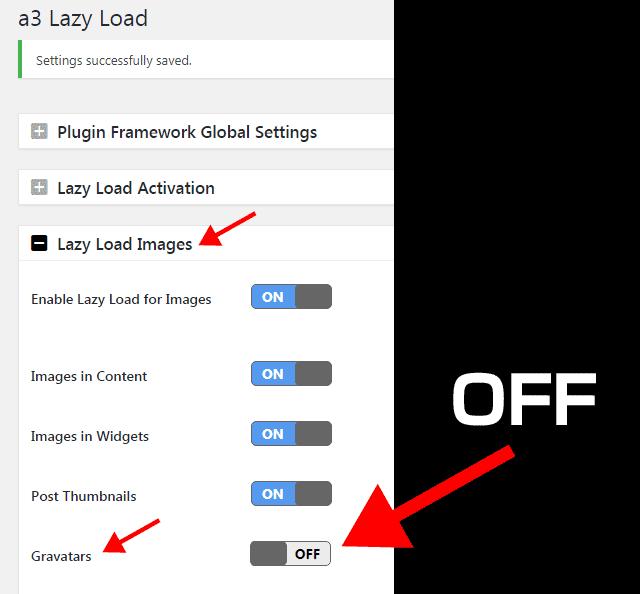 a3 Lazy LoadのGravatarsをOFFにする