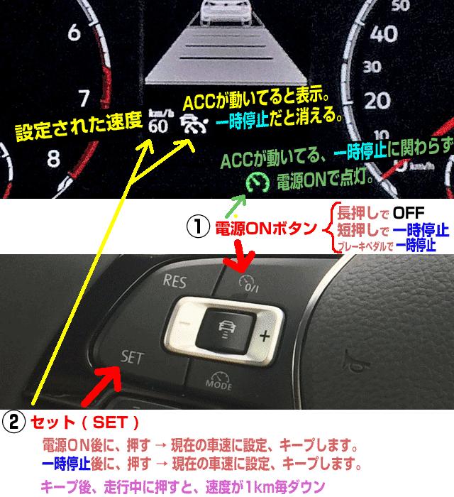 ポロのACCの速度設定方法・上限は160km/h