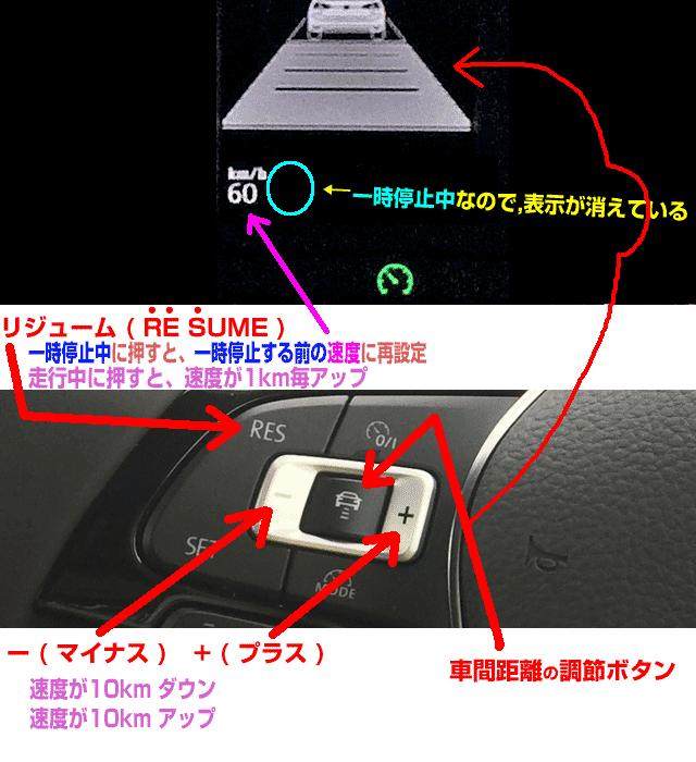 ACCの再設定と車間調節ボタン