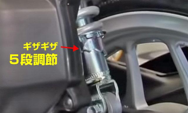 125ccのプリロード調節機能付きサスペンションで乗り心地と硬さ設定。