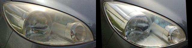 ソフト99の効果、斜め正面のヘッドライト比較