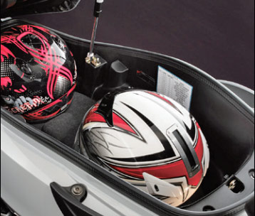 台湾SYM新型joymax125のシート下、フルフェイスヘルメット収納