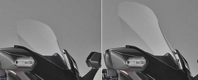 新型フォルツァ125の調整可能な純正ロングスクリーン