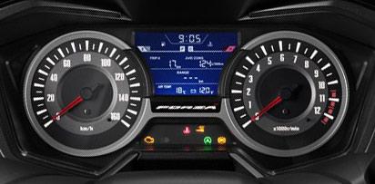 新型フォルツァ125のアナログスピードメーターと液晶パネル